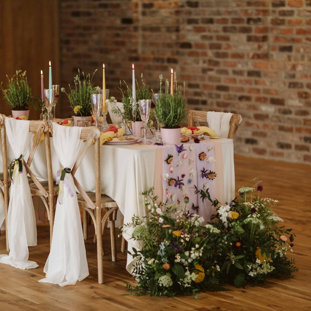 Table Decor Tablescape Candles Flowers Meadow Wild Flowers Pretty Oakwood at Ryther Wedding Freya Raby