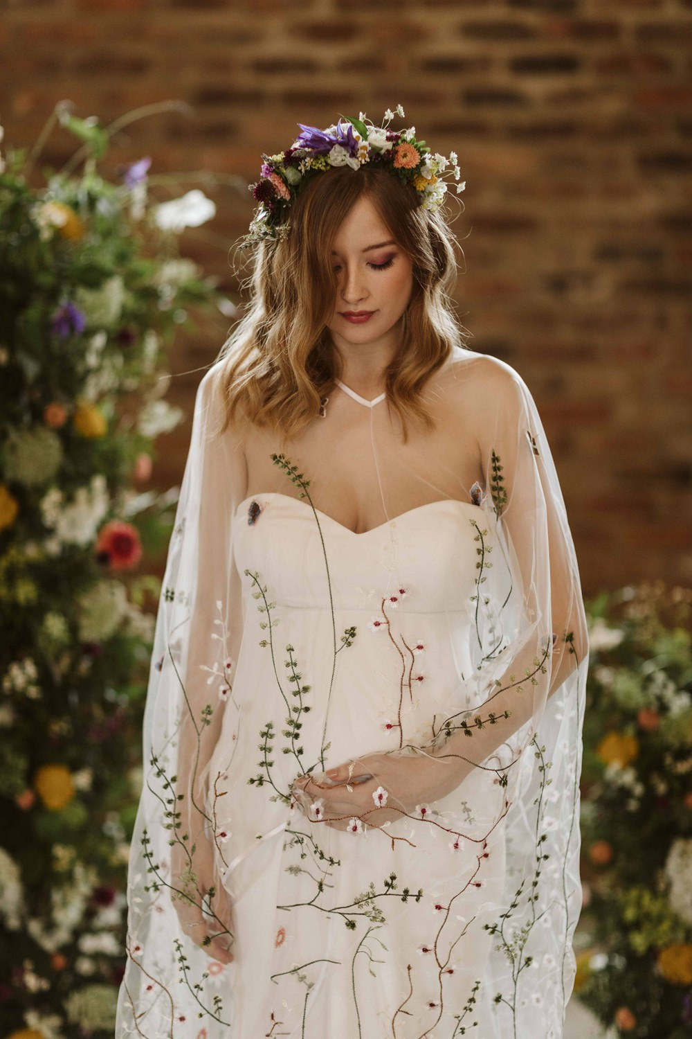 Floral Embroidered Veil Oakwood at Ryther Wedding Freya Raby