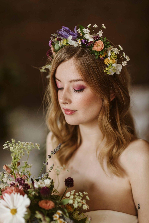 Bride Bridal Make Up Flower Crown Short Hair Waves Oakwood at Ryther Wedding Freya Raby
