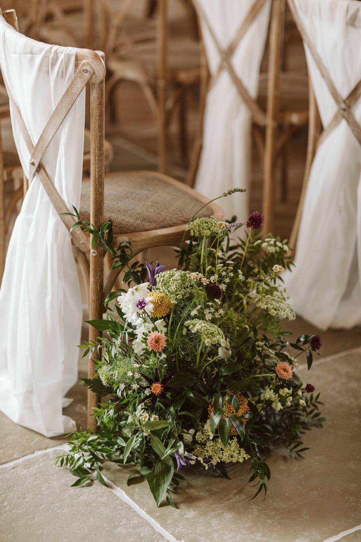 Pew End Flowers Aisle Ceremony Oakwood at Ryther Wedding Freya Raby