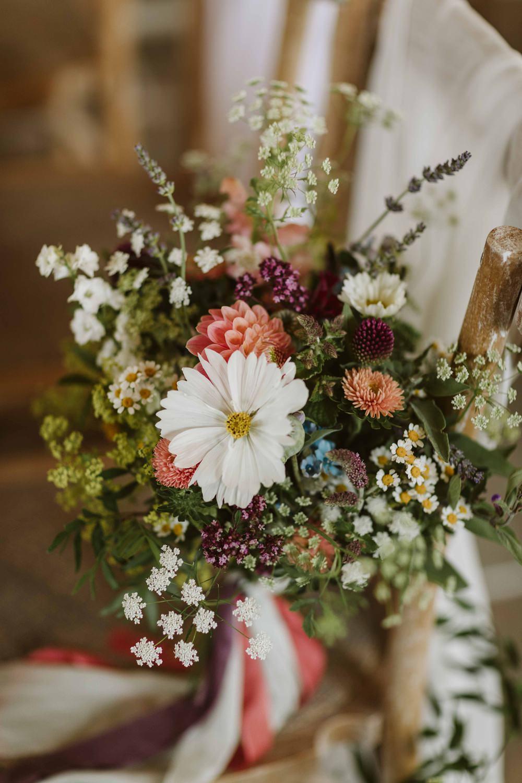 Bouquet Flowers Bride Bridal Wild Meadow Dahlia Oakwood at Ryther Wedding Freya Raby