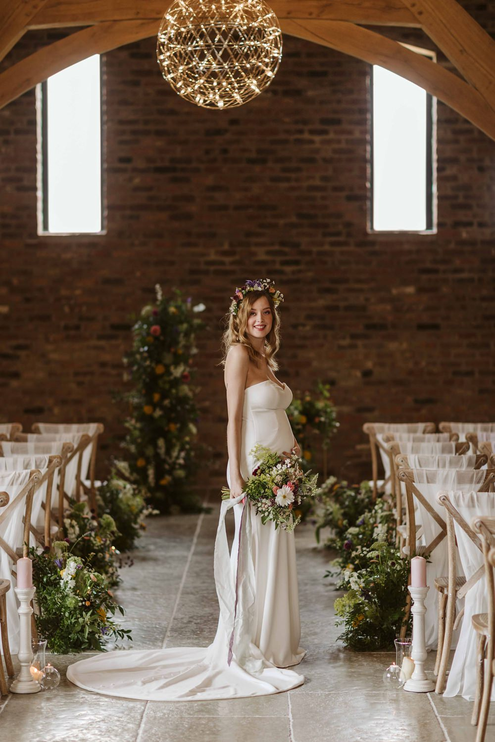 Dress Gown Bride Bridal Strapless Puddle Train Oakwood at Ryther Wedding Freya Raby