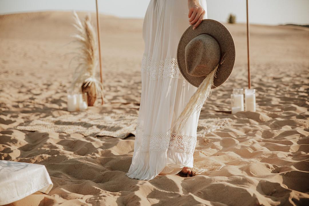 Bride Bridal Hat Fedora Sand Dunes Wedding Photos By Gayle