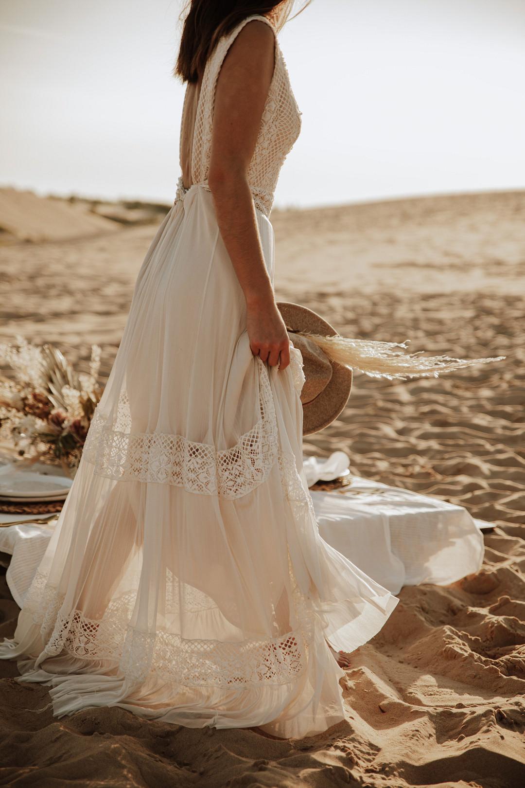 Bride Bridal Dress Gown Boho Bohemain Sheer Sand Dunes Wedding Photos By Gayle