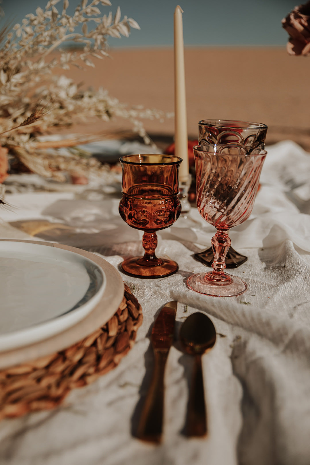 Brown Glassware Sand Dunes Wedding Photos By Gayle