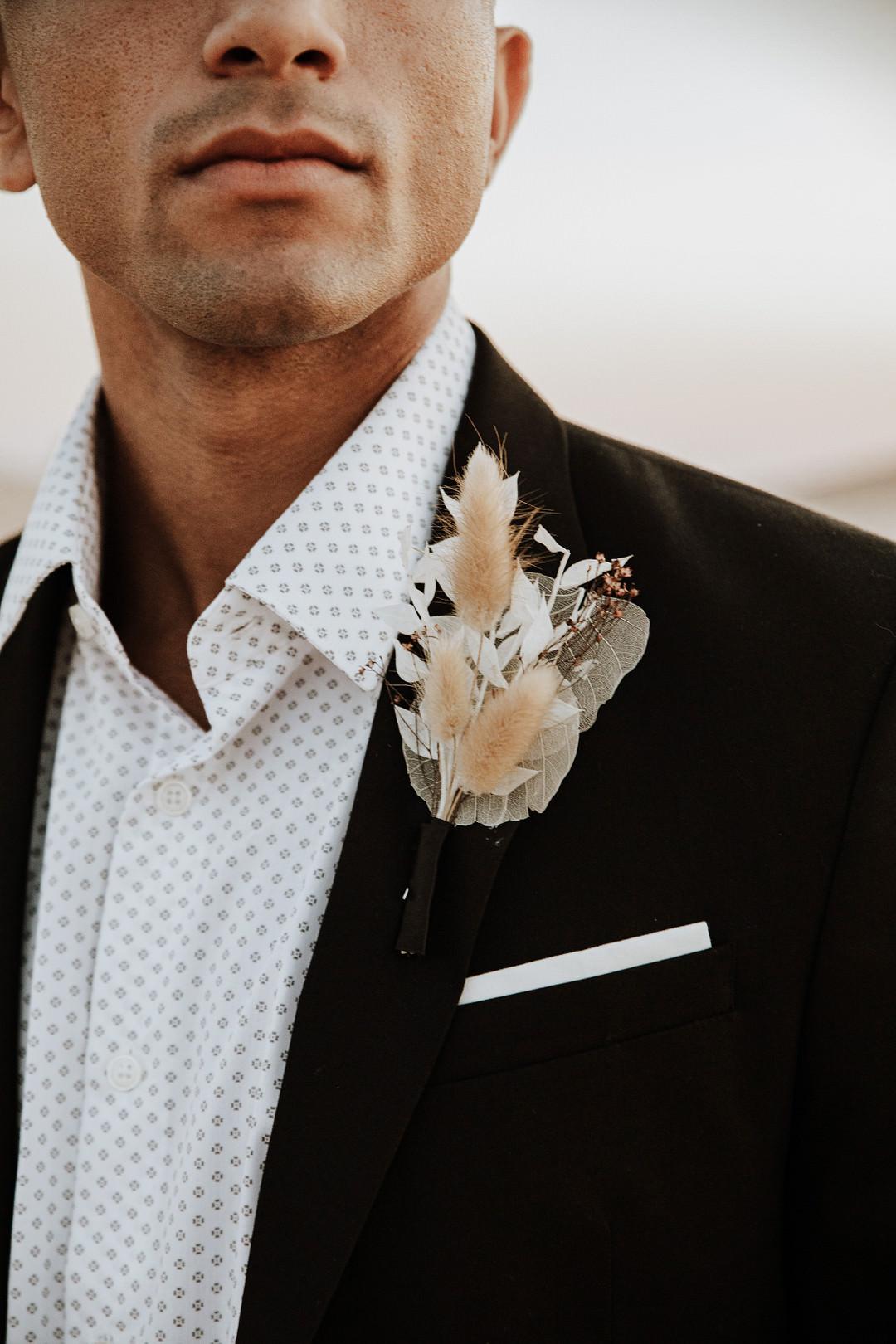 Groom Buttonhole Flowers Grass Sand Dunes Wedding Photos By Gayle