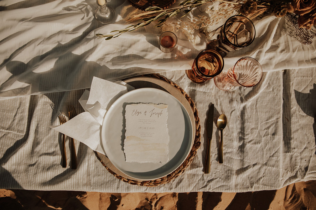 Table Tablescape Dried Flowers Boho Candles Rust Orange Sand Dunes Wedding Photos By Gayle