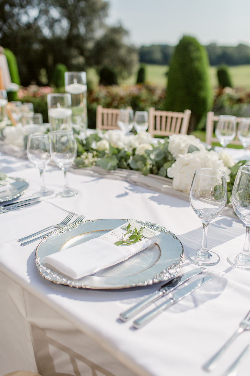 Table Tablescape Decor Greenery Foliage Runner Place Setting Stately Home Wedding Whitney Lloyd Photography
