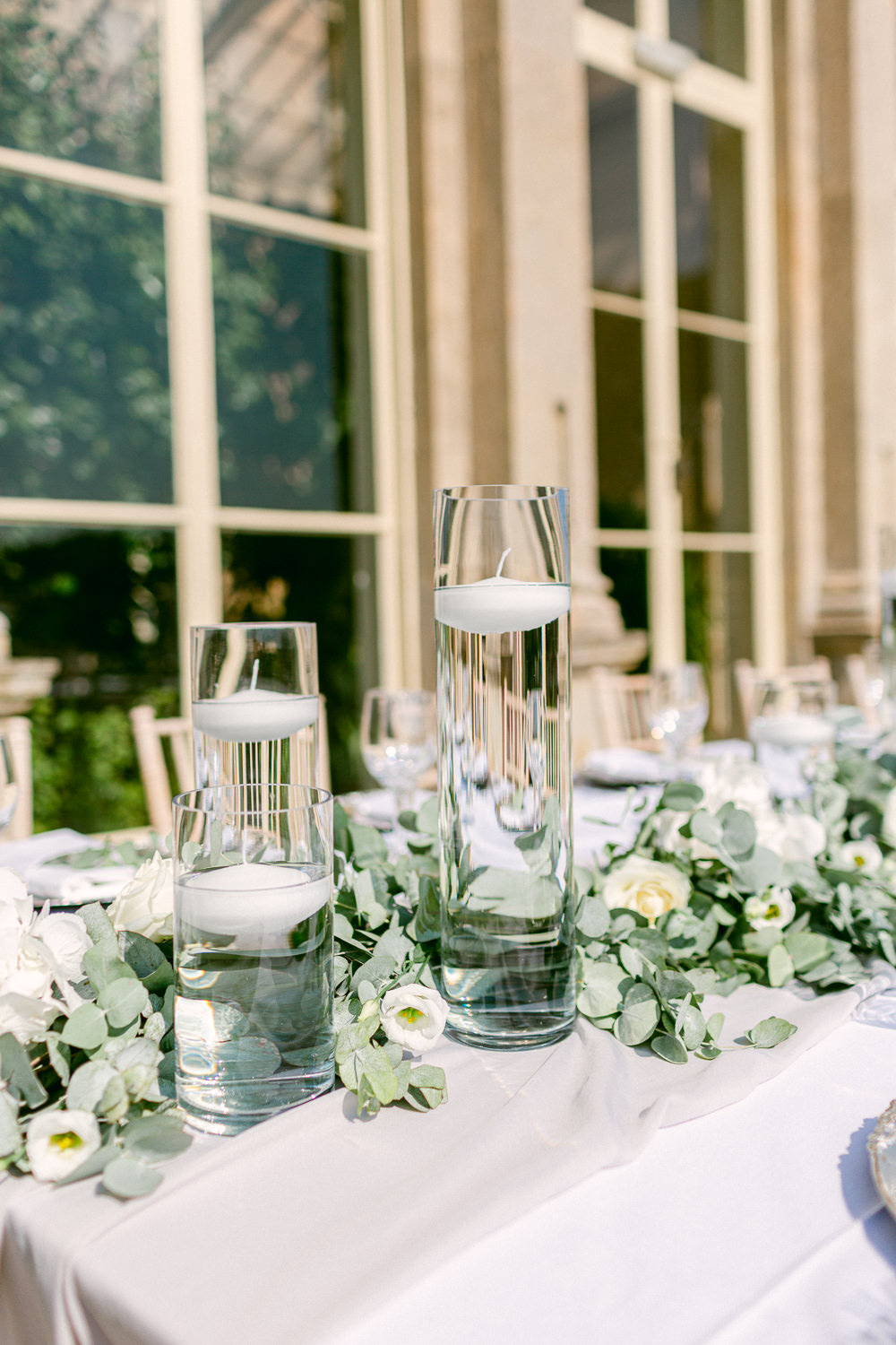 Table Tablescape Decor Greenery Foliage Runner Place Setting Water Candles Stately Home Wedding Whitney Lloyd Photography