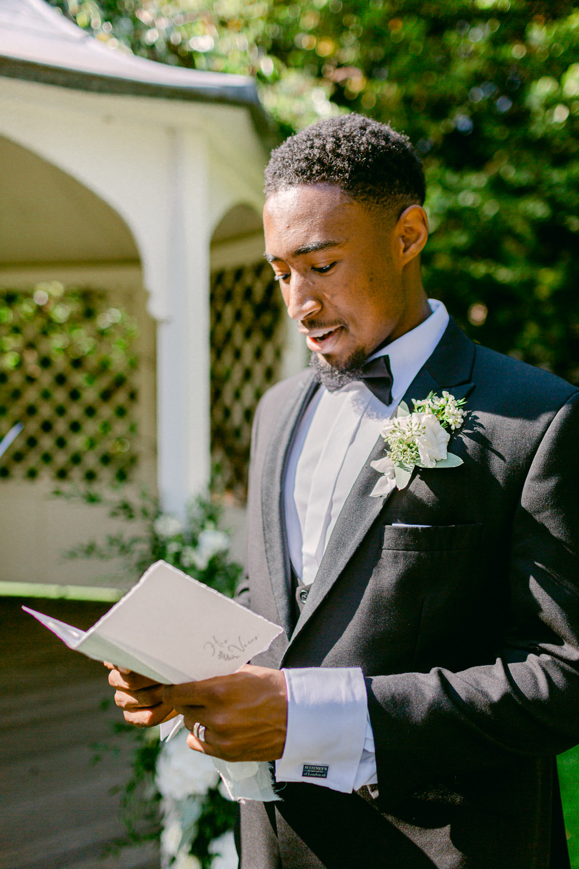 Groom Suit Tuxedo Black Bow Tie Stately Home Wedding Whitney Lloyd Photography