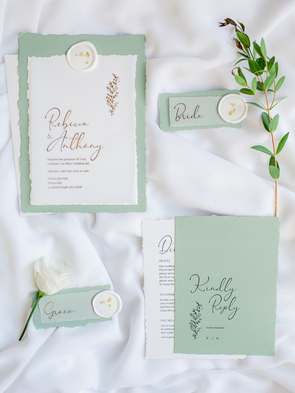 Pale Mint Green Silver Stationery Invite Invitation Stately Home Wedding Whitney Lloyd Photography