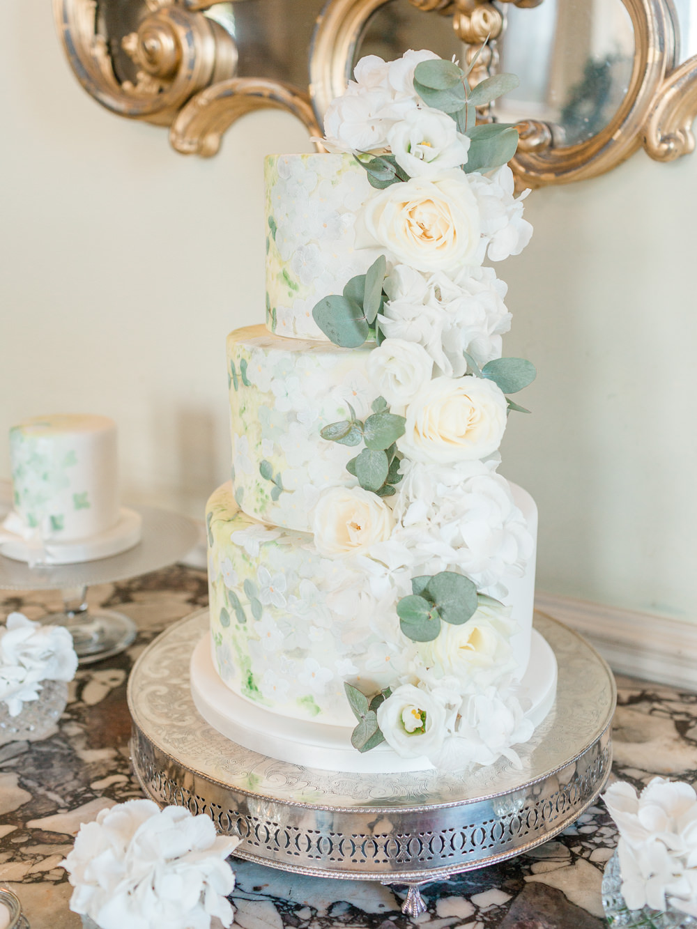 Foliage Greenery Cake Tall Flowers Floral Stately Home Wedding Whitney Lloyd Photography