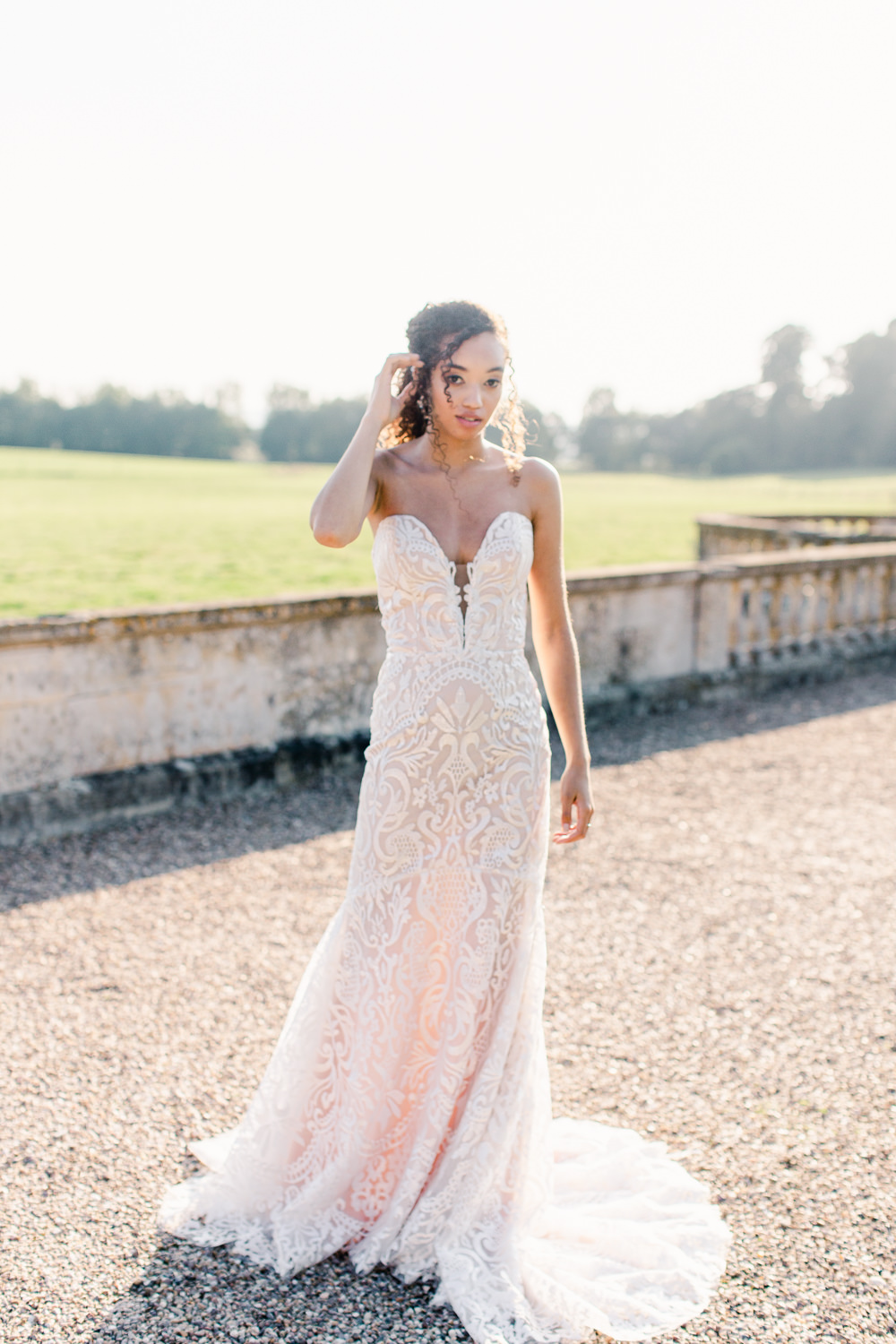 Dress Gown Bride Bridal Bride Bridal Hair Make Up Lace Sweetheart Strapless Stately Home Wedding Whitney Lloyd Photography
