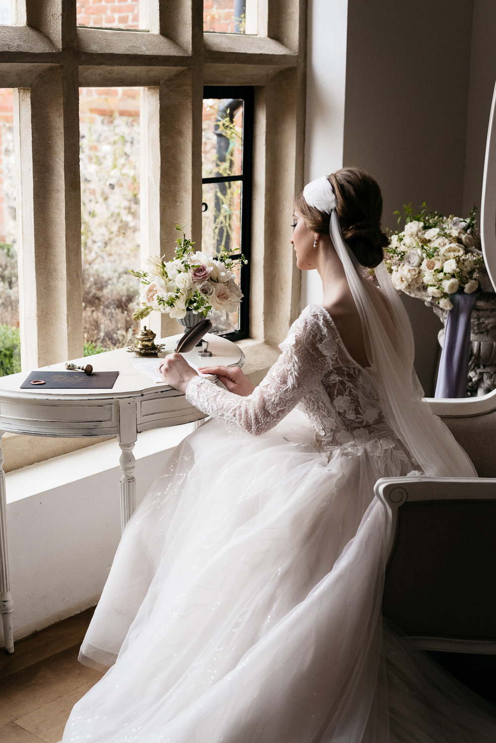 Dress Gown Bride Bridal Sparkly Train Long Sleeves Swan Lake Wedding Ideas Salsabil Morrison