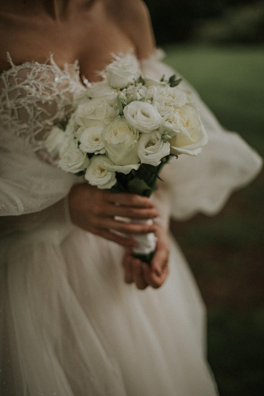 Bouquet Flowers Bride Bridal Cream Ivory Rose Thirlestane Castle Wedding Bernadeta Kupiec Photography