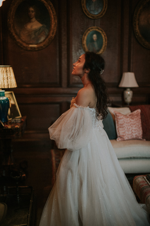 Dress Gown Bride Bridal Tatiana Kaplun Sleeves Sparkle Tulle Strapless Thirlestane Castle Wedding Bernadeta Kupiec Photography
