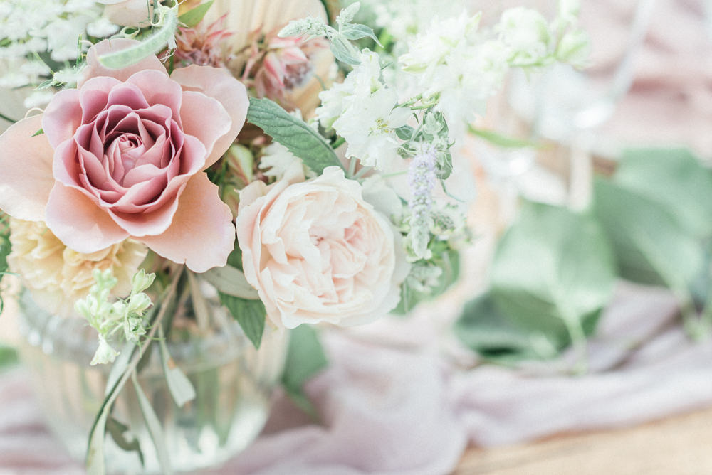 Table Flowers Centrepiece Pink Rose UK Destination Wedding Hannah McClune Photography