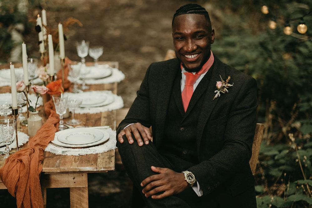 Woods Wedding Tom Jeavons Photography Groom Suit Orange Tie
