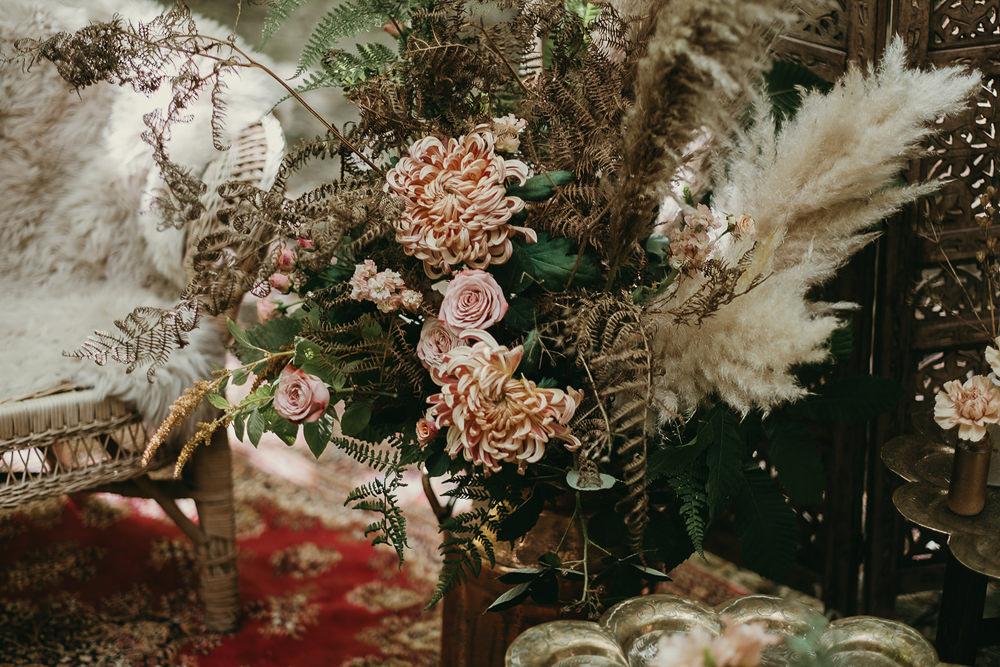 Flowers Decor Pampas Grass Woods Wedding Tom Jeavons Photography
