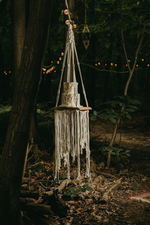 Cake Swing Macrame Woods Wedding Tom Jeavons Photography