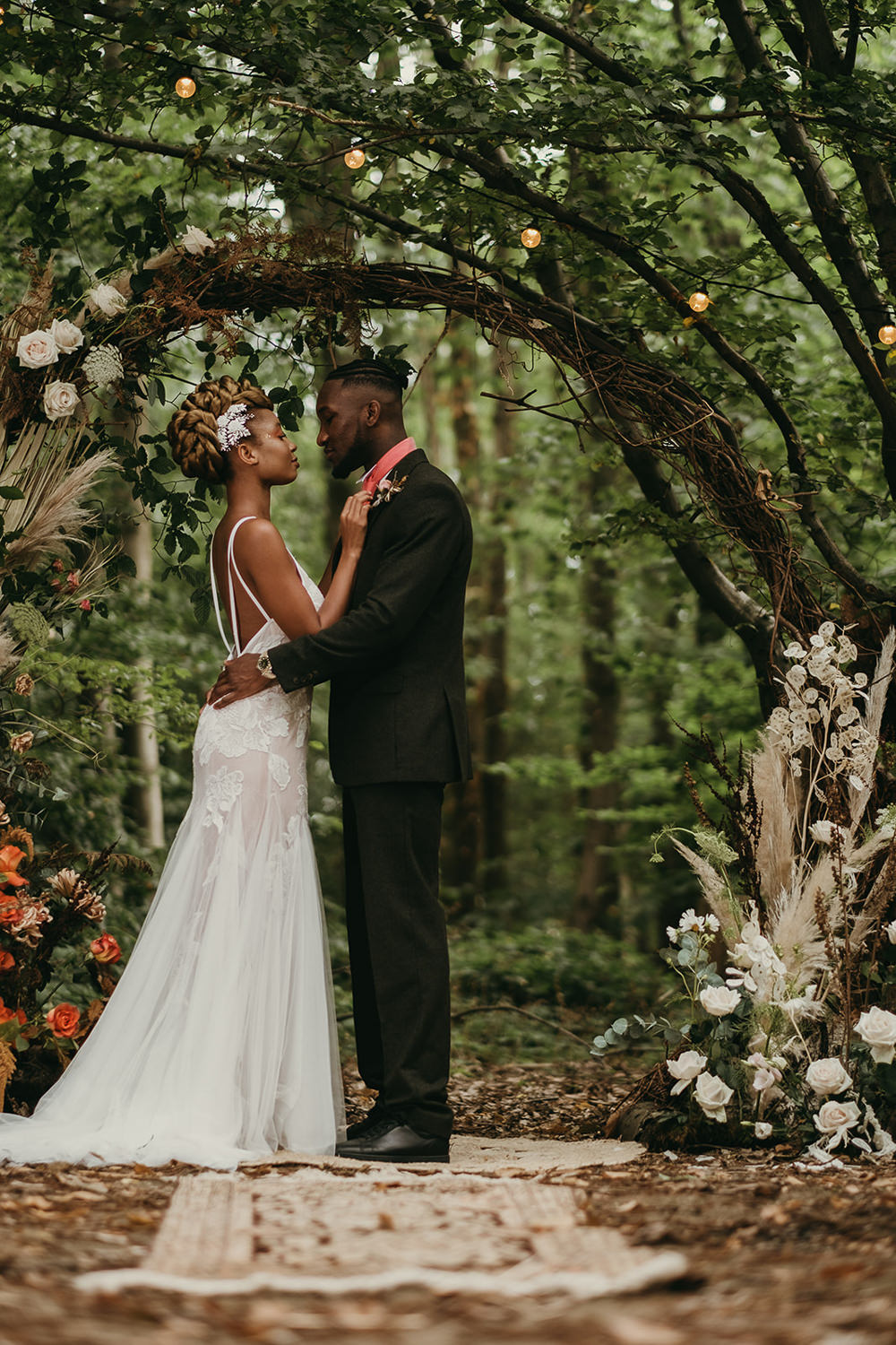 Woods Wedding Tom Jeavons Photography Flower Arch Moongate Backdrop