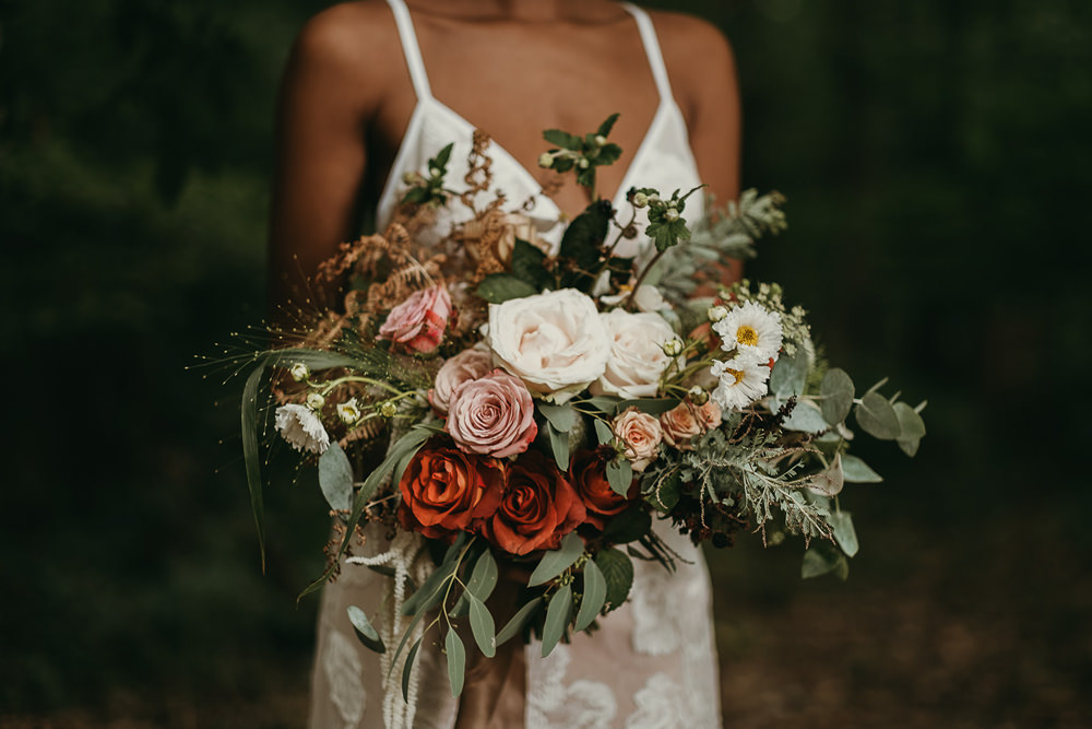 Bouquet Flowers Bride Bridal Rose Greenery Woods Wedding Tom Jeavons Photography