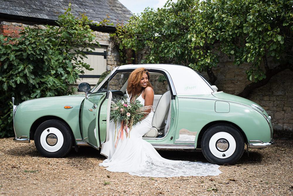 Mint Green Car Transport Retro Vintage Barn Elopement FJS Wedding Photography