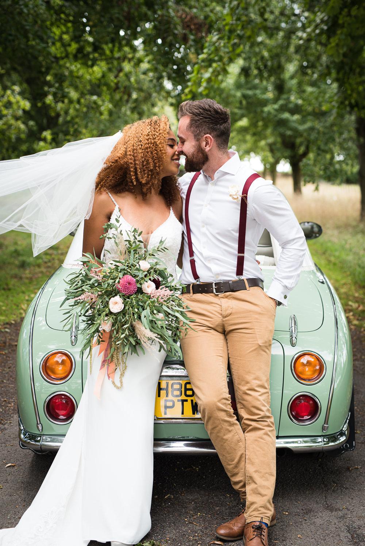 Barn Elopement FJS Wedding Photography Mint Green Car Transport Retro Vintage