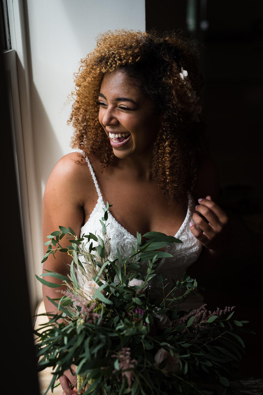 Bride Bridal Hair Make Up Bouquet Flowers Greenery Foliage Rose Dahlia Barn Elopement FJS Wedding Photography