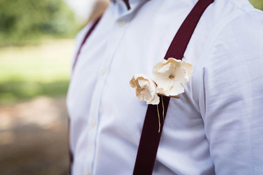 Groom Buttonhole Flowers Braces Barn Elopement FJS Wedding Photography