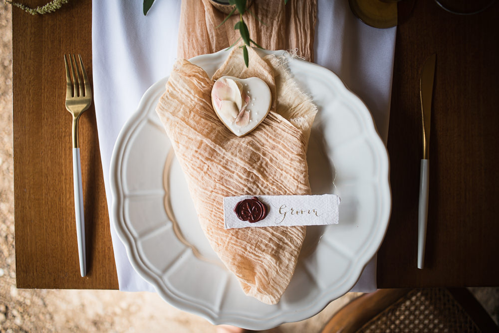 Calligraphy Wax Seal Place Name Heart Napkin Place Setting Barn Elopement FJS Wedding Photography