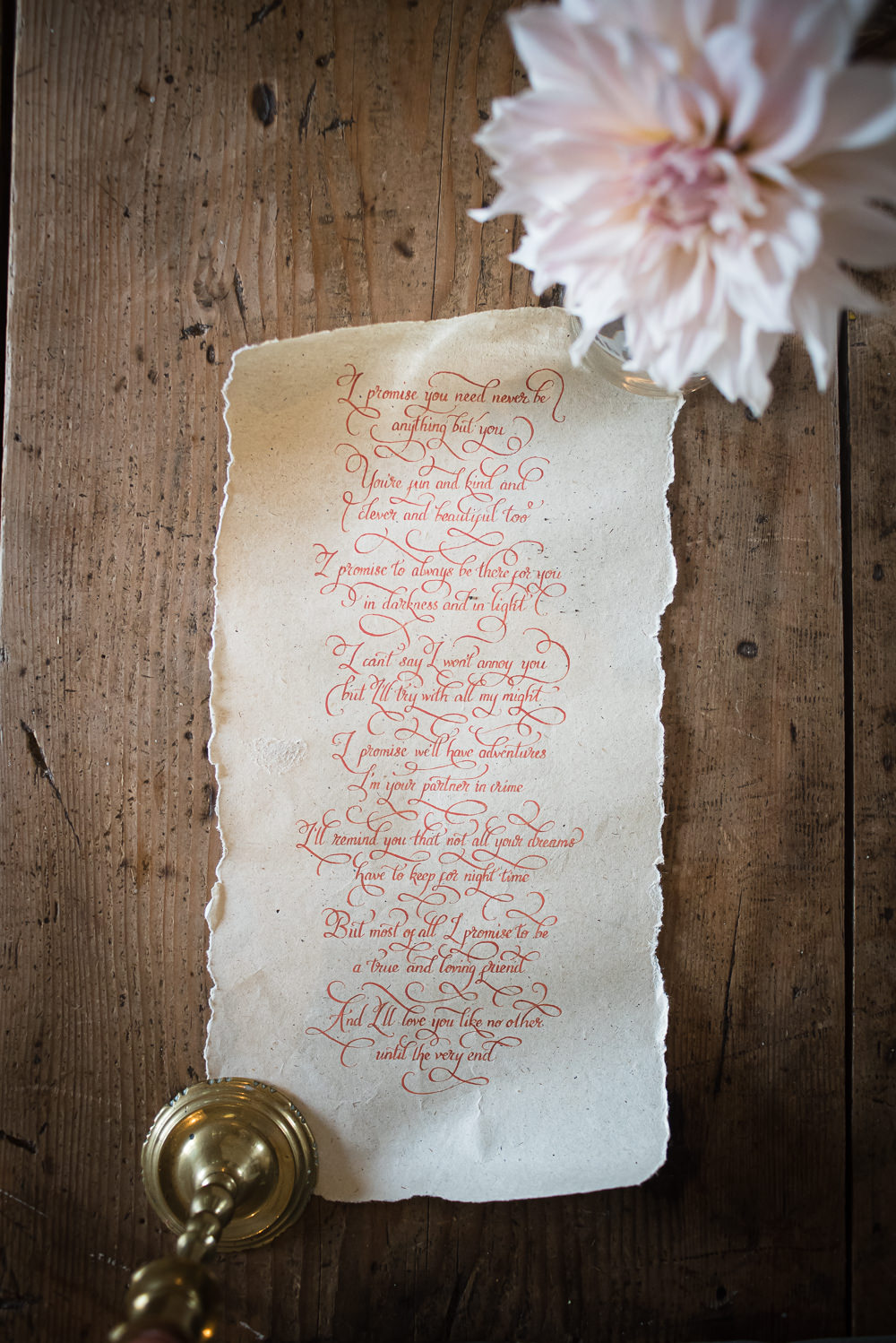 Vows Calligraphy Barn Elopement FJS Wedding Photography