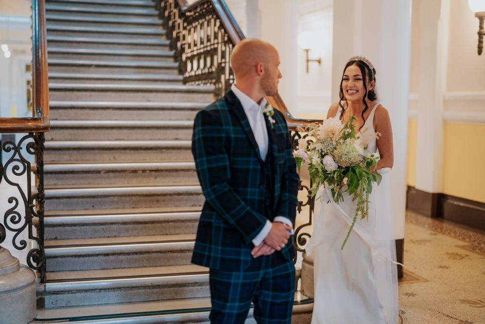 First Look Brighton Town Hall Wedding Bloom Weddings