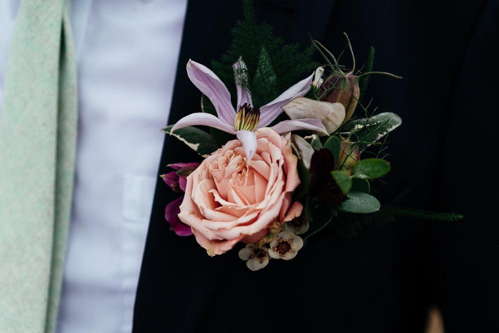 Groom Buttonhole Flowers Rose Covid Real Wedding Holly Bobbins Wedding Photographer