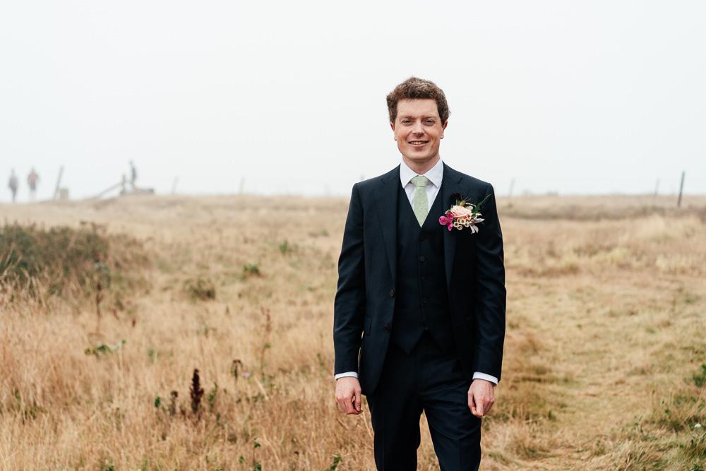 Groom Suit Sage Green Tie Covid Real Wedding Holly Bobbins Wedding Photographer