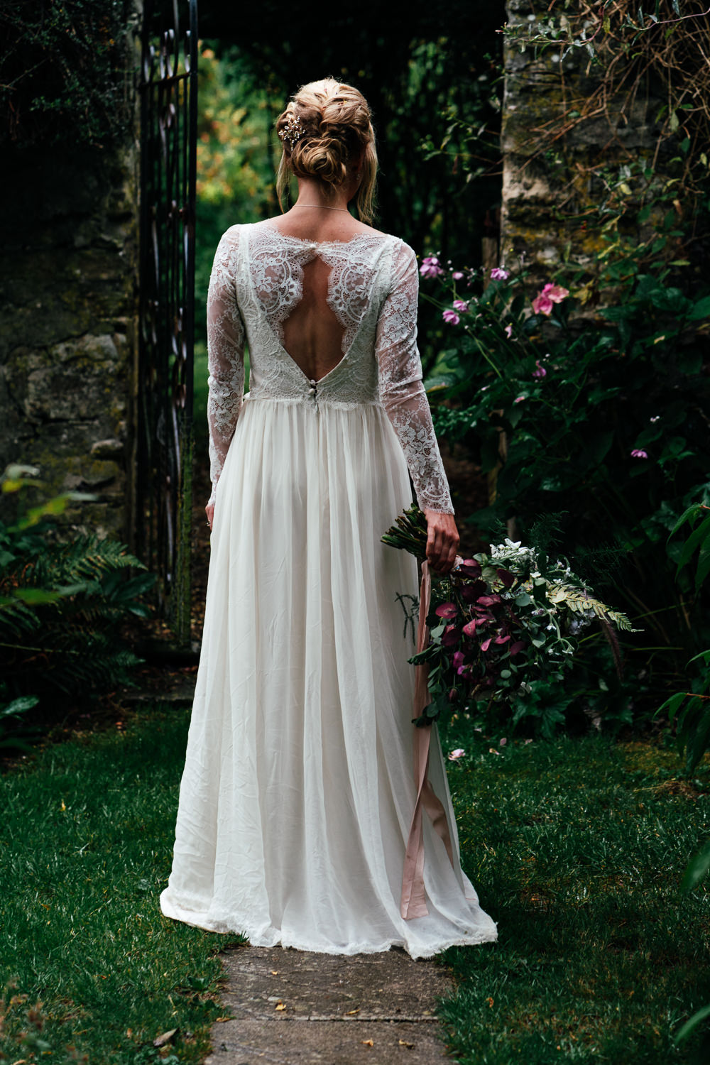 Bride Bridal Dress Gown Lace Sleeves Veil Covid Real Wedding Holly Bobbins Wedding Photographer
