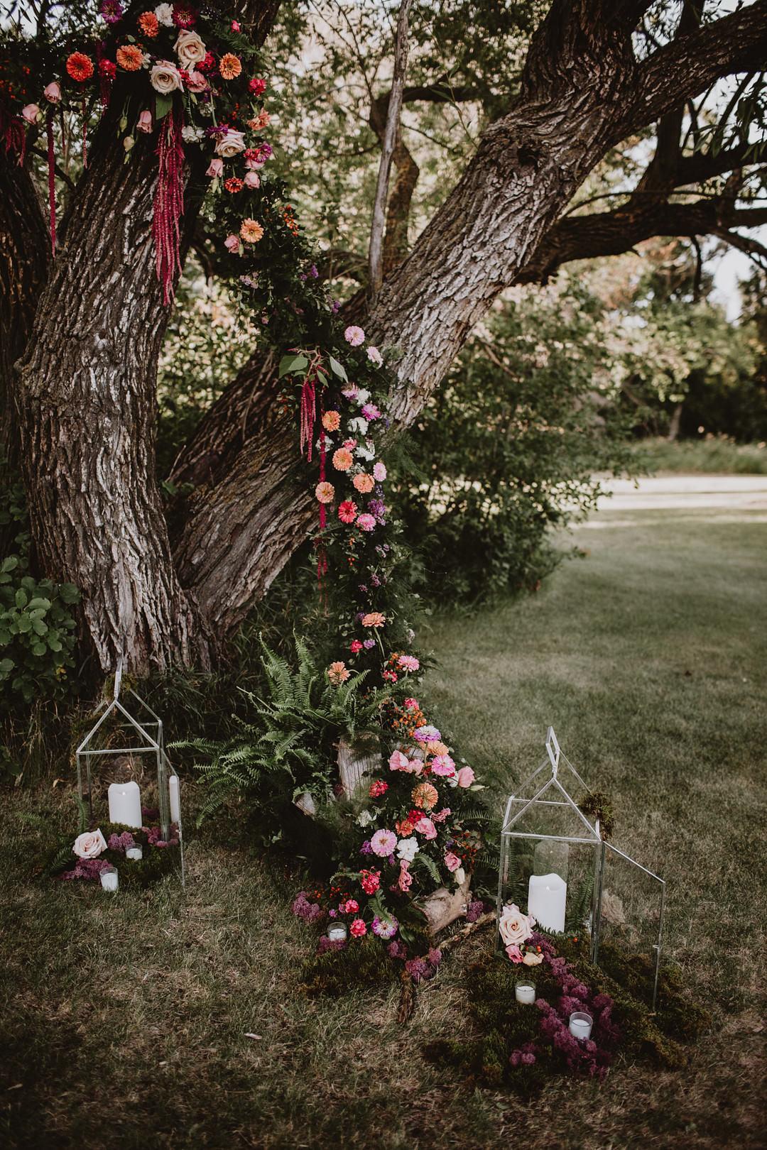 Flower Installation Floral Tree Candle Decor Fairytale Forest Wedding Christina W Kroeker Creative