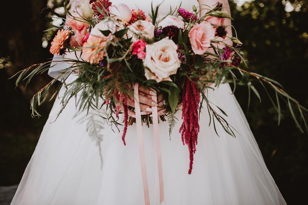Bouquet Flowers Bride Bridal Rose Amaranthus Blush Red Fairytale Forest Wedding Christina W Kroeker Creative