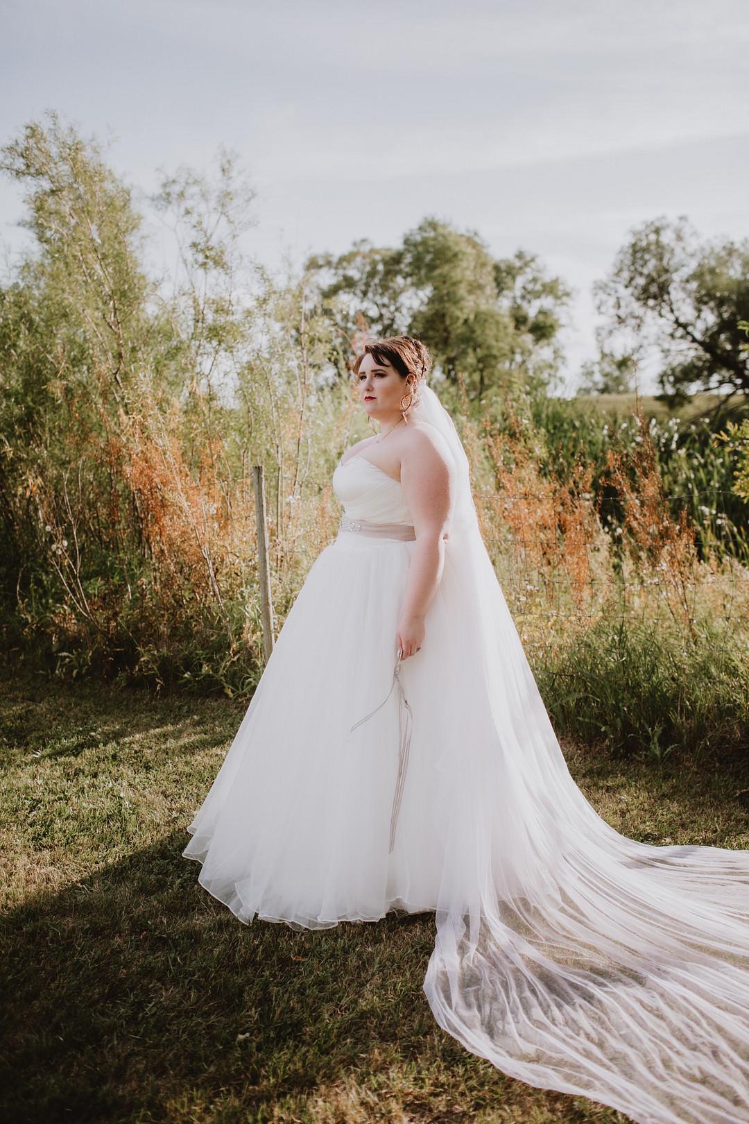 Dress Gown Bride Bridal Strapless Tulle Veil Fairytale Forest Wedding Christina W Kroeker Creative