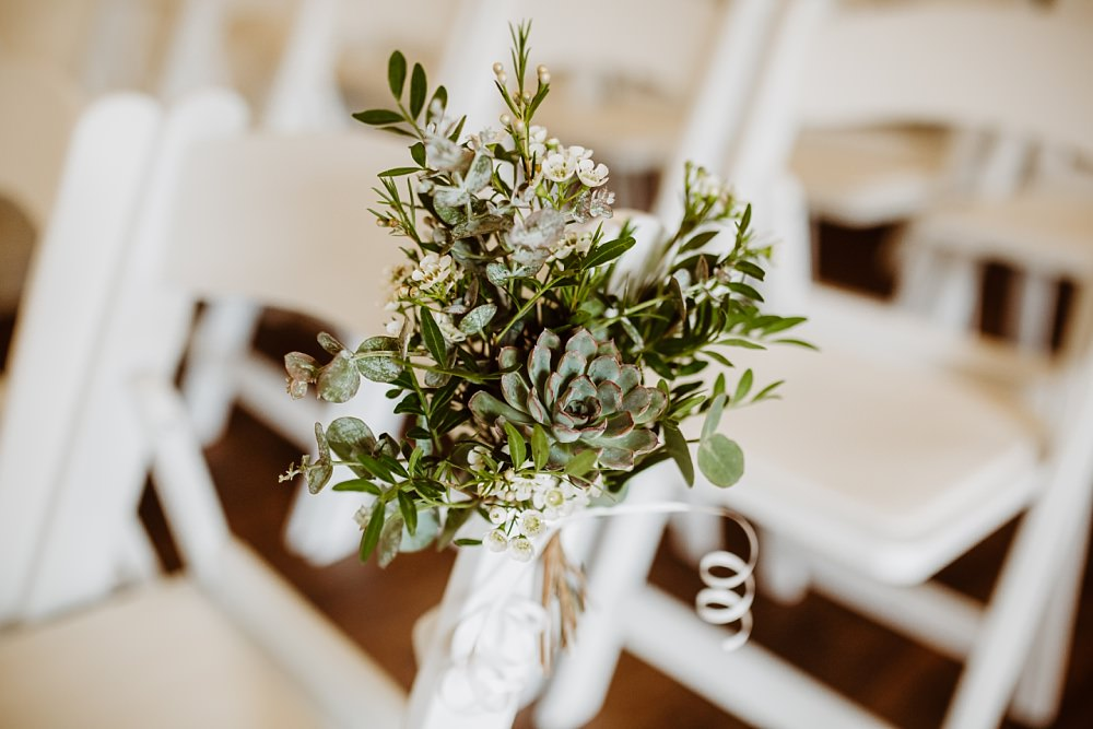 Pew End Flowers Chairs Aisle Greenery Greek English Wedding Holly Collings Photography