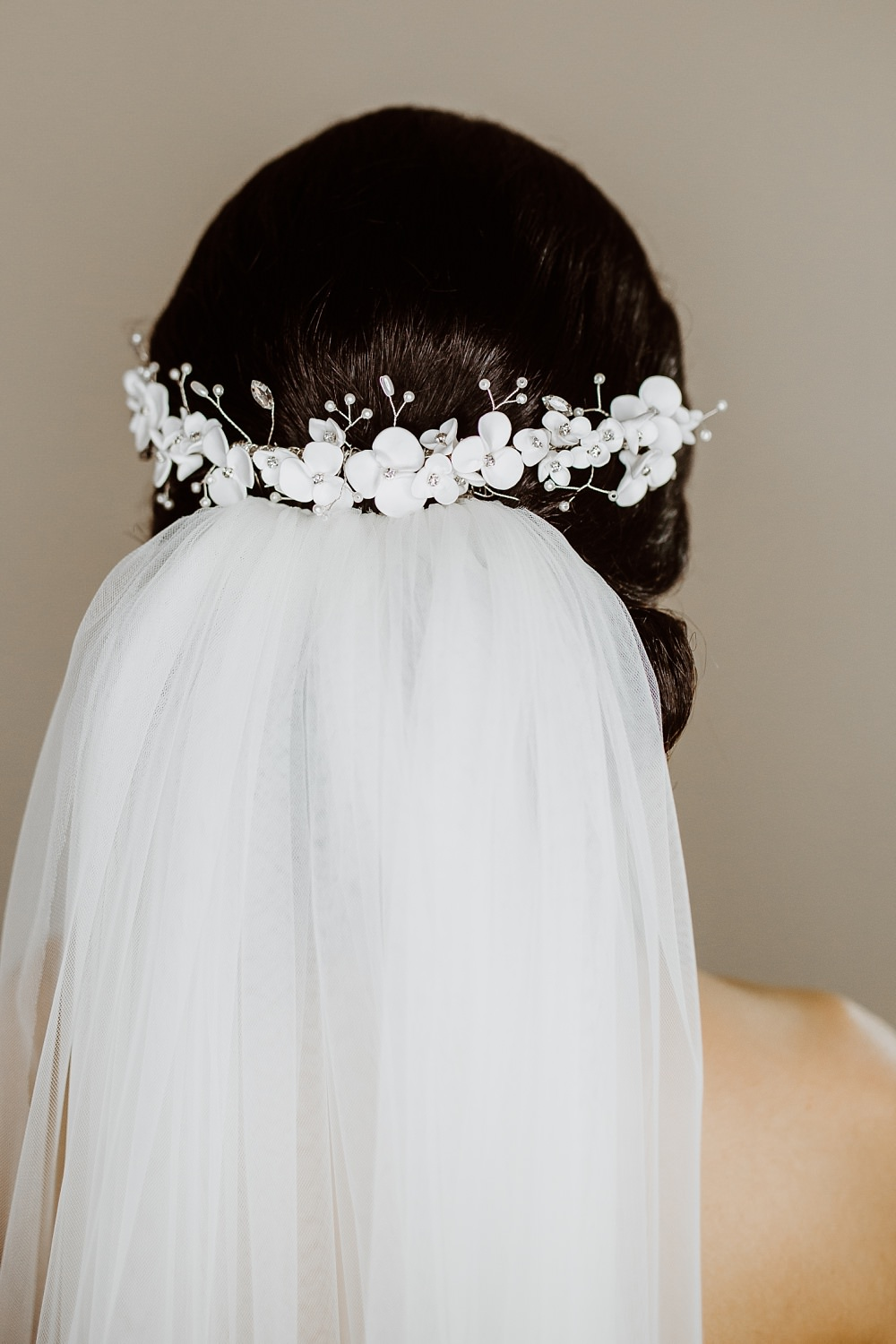 Bride Bridal Hair Style Up Do Veil Comb Greek English Wedding Holly Collings Photography