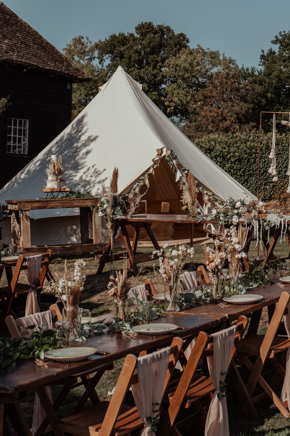 Outdoor Reception Bell Tent Backdrop Rustic Wooden Tables Decor Intimate Wedding Ideas Imogen Eve Photography