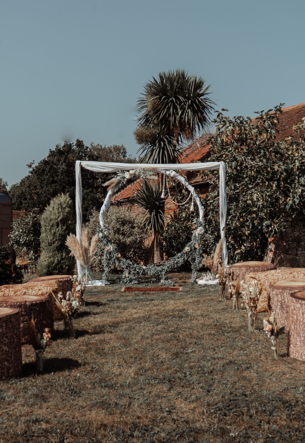 Moongate Flower Arch Backdrop Ceremony Outdoors Intimate Wedding Ideas Imogen Eve Photography