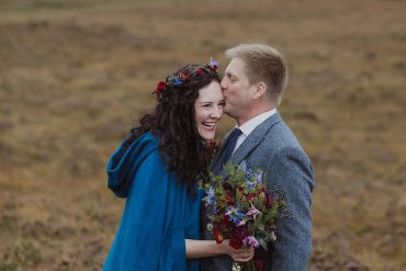 Wild & Wonderful Isle Of Skye Elopement with a Bride in a Blue Cape