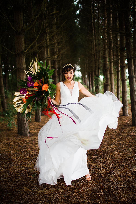 Dress Gown Bride Bridal Tulle Jungle Wedding Ideas Terri Pashley Photography
