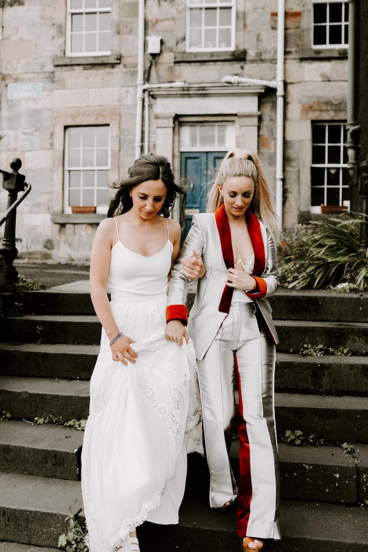 Bride Bridal Suit Metallic Red Orocco Pier Wedding Meggy Mac Photography