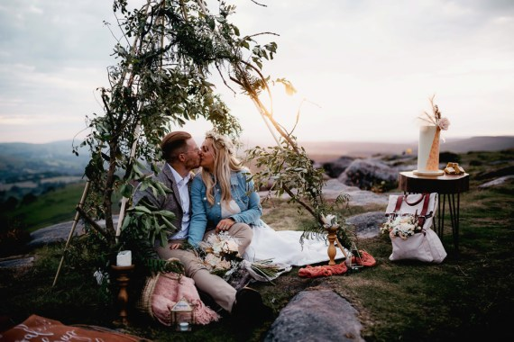 Peak District Elopement Fly On The Wall Photography Naked Tipi Backdrop Greenery Foliage