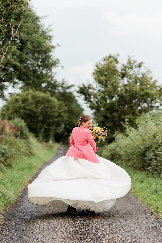 Dress Gown Bride Bridal Ballgown Pockets Wed2B Pink Jacket Scotland Garden Wedding LJ Horton Photography