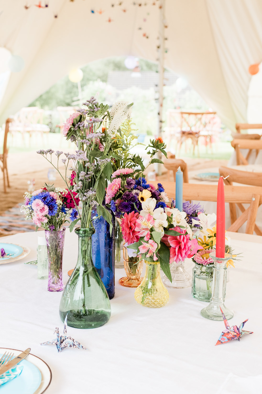 Centrpiece Flowers Decor Colourful Bottles Scotland Garden Wedding LJ Horton Photography