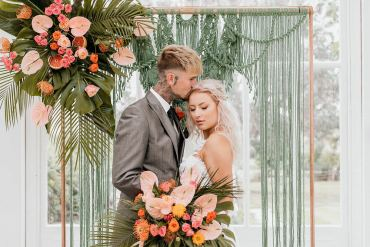 Tropical Bohemian Wedding Ideas in Green & Coral Tones
